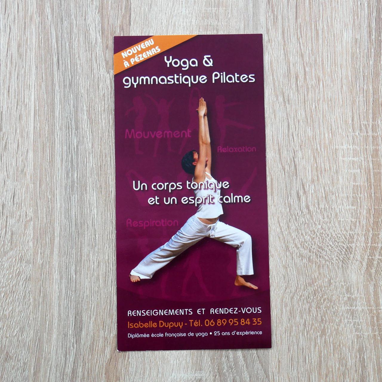 création graphique Flyer Yoga Isabelle Dupuy à Pézenas