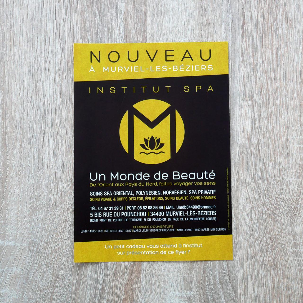 création graphique Flyer Un Monde de Beauté à Murviel-les-Béziers
